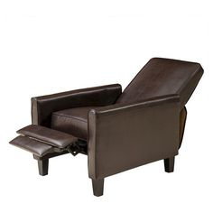 Darvis Leather Recliner Club Chair - Brown - Christopher Knight Home