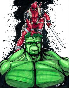 #Deadpool #Fan #Art. (Hulk-n-Deadpool) By: Artildawn. (THE * 5 * STÅR * ÅWARD * OF: * AW YEAH, IT'S MAJOR ÅWESOMENESS!!!™)[THANK Ü 4 PINNING!!!<·><]<©>ÅÅÅ+