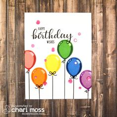 Sunny Studio Stamps: Breakfast Puns Born To Sparkle Birthday Balloon Cards by Chari Moss Creative Birthday Cards, Simple Birthday Cards, Handmade Birthday Cards, Birthday Greeting Cards, Happy Birthday Cards, Greeting Cards Handmade, Birthday Painting, Birthday Card Drawing, Birthday Card Design