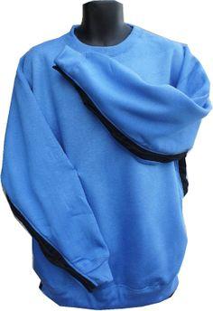 SIDE OPEN Sweatshirt w/ Denim contrast  / Post by DressWithEase, $40.00