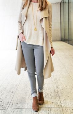 Closet Classics: Drapey/Wrap Trench (no buttons) in a Nude Colour: try Club Monaco, Oak + Fort