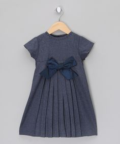 Wool Dress with Taffeta Ribbon - Infant, Toddler Girls by Malvi Co.