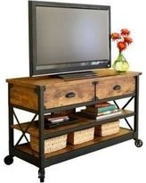 Rustic TV Stand 52 in Flat Panel Entertainment Center Vintage Country Table