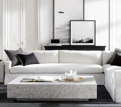 (Size ordered to fit room) - (Perennials Performance Classic Linen Weave in White or Natural) Belgian Track Arm Slipcovered L-Sectional Living Room Interior, Home Living Room, Apartment Living, Home Interior Design, Living Room Designs, Living Room Decor, Living Spaces, Living Room Inspiration, Design Inspiration
