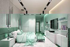 macetas en los estantes en el dormitorio moderno