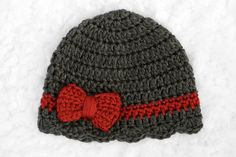 Ribbon & Bow Crochet Baby Hat // Charcoal Gray and Red by lauraanncrochet, $9.00