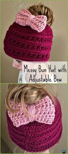 Crochet Messy Bun Hat with Adjustable Bow Free Pattern - Crochet Ponytail Messy Bun Hat Free Patterns & Instructions