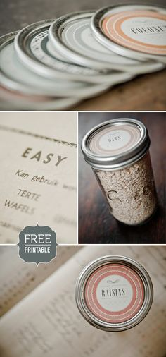 Free printables for mason jar lids.  I love this idea to create pre-mixes of the dry ingredients for my homemade recipes. Place on the label the wet ingredients to add and cooking instructions.  Presto! A quick homemade treat or give away as a cute gift.