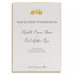 Design Your Own Save The Date Online: This Tandem Bicycle Gold Engraved motif is adorable and completely ready to be customized online!