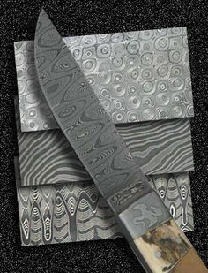 True Damascus patterns are formed when carbon trace elements form visible swirls in the steel mix, that change properties when work hardened (forged).