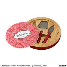Cherry and White Paisley Custom Cheese Board