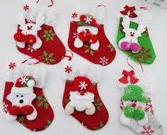 6pcs/lot Christmas Stocking Candy and Gifts Holders Bags