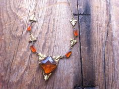 vintage Art Deco Necklace / 20s jewelry / Amber colored glass necklace on Etsy, $112.00