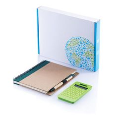Office set. Set including hard craft paper eco notebook with 60 pages  inside of 70g/m2, PLA ballpoint pen and 10 digit solar  powered LCD screen calculator in a PLA case with 24 keys.