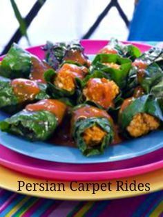 Persian Carpet Rides - beef and rice stuffed spinach leaves