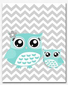 Aqua and grey owl nursery art Print - 8x10 - boys art print, baby boy wall art,baby owl, mom and baby, aqua, gray, chevron