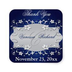 Navy Blue Silver Gray Floral Wedding Favor Sticker save thw date?