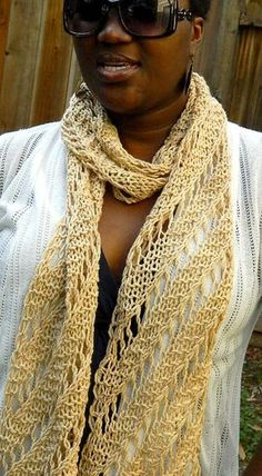 Free Knitting Pattern for Easy Colliding Stars Scarf - Scarf knit with a diagonal lace stitch in a 10 row repeat inspired byThe Harmony Guides: Lace & Eyelets. Optional crochet edging. Use any weight of yarn. Designed by Denise Twum of Niseyknits.Rated easy by Ravelrers