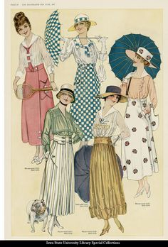 June 1917, The Delineator. Day and sports summer dreses. The square big lapels like the green blouse were very in, also the hat from that one reminds me a little to the british and american soldier's helmets.