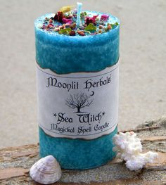 Sea Witch Magickal Spell Candle - Intuition, Divination, Scrying, Dreams, Purification, Water Magick, Working with Water Elementals
