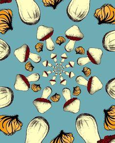 Mushroom and garlic   #pattern #design #illustration #food #foodie #mushroom #garlic #cooking #vegetarian #art #vegan #healthy #graphicdesign #음식스타그램 #요리스타그램 #일러스트 #패턴 #버섯 #마늘 #요리 #푸드일러스트 #맛있는거 #그림 #그림일기 #배경그림