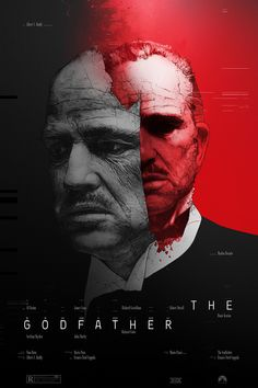 'The GodFather' directed Francis Ford Coppola. This poster is a alternative for the movie's advertising. The poster has the protagonist's face in half, one on the left and right. The colours on the let are in black and grey, and the right in red. Best Movie Posters, Minimal Movie Posters, Cinema Posters, The Godfather Poster, Godfather Movie, Poster S, Movie Poster Art, Print Image, Gravure Photo