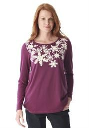 Plus Size Snowflake tee from Woman Within in purple and teal (jade)