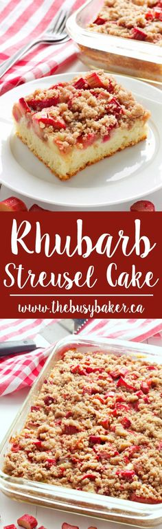 This Rhubarb Streusel Cake recipe is just like Grandma used to make! It's the perfect tender cake recipe with fresh rhubarb and a sweet and crispy streusel topping! Rhubarb Desserts, Rhubarb Recipes, Just Desserts, Delicious Desserts, Yummy Food, Rhubarb Cake, Rhubarb Ideas, Cooking Rhubarb, Delicious Dishes