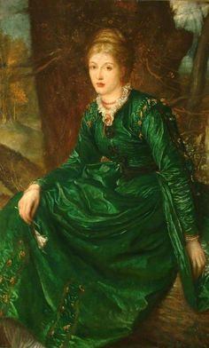 ▴ Artistic Accessories ▴ clothes, jewelry, hats in art - George Frederic Watts | Miss Virginia Dalrymple, 1871-2