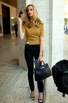 Business Casual - I would add a button down blouse to peak out under the sweater