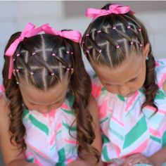 "1,120 Likes, 26 Comments - Little Girl Hairstyle Features (@braidsforlittlegirls) on Instagram: ""Love this adorable elastic style!  Sister braids are so cute!  credit @sheerbraidedbliss"""
