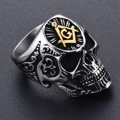 Stainless Steel Masonic Skull Ring
