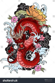 Japanese old dragon for t… hand drawn Dragon tattoo ,coloring book japanese style.Japanese old dragon for tattoo. Traditional Asian tattoo the old dragon vector. Dragon Tattoo Colour, Dragon Tattoo Designs, Tattoo Designs Men, Color Tattoo, Dragon Tattoo Drawing, Dragon Tattoo Background, Dragon Tattoo With Flowers, Chinese Dragon Drawing, Dragon Tattoo Vector