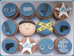 Police themed cupcakes for a firearms officer, chocolate sponge with chocolate buttercream and handmade decorations Police Cupcakes, Themed Cupcakes, Fun Cupcakes, Cupcake Cakes, 40th Birthday Themes, Birthday Boys, Birthday Cake, Cop Cake, Cupcake Recipes For Kids