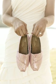 Pink glittery TOMS for the bride.