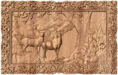 Deer with frame - wooden carving