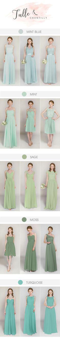 shades of green long bridesmaid dresses +41 more colors