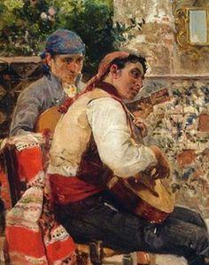 Joaquín Sorolla - Los guitarristas, costumbres valencianas. 1889                                                                                                                                                                                 Más