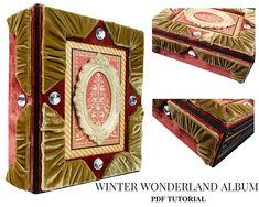 Winter Wonderland Graphic 45 Scrapbook Mini AlbumTutorial.  The album is a perfect gift or a beautiful addition to your home. Fill the album with your family photos. The album is made with archival papers and safe materials.  Repin to save the idea for your next Christmas project.