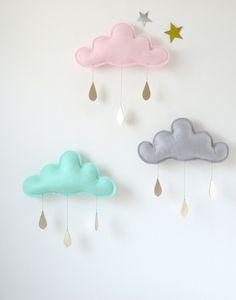 3 Rain Cloud Mobiles Nursery Children Decor- 3 Spring  rain Cloud Mobiles for nursery by The Butter Flying. $100.00, via Etsy.