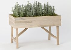 The Raised Teak Trough Planter is 36 inches long and 22.5 inches tall with a 6.5-inch deep bed, and is good for growing herb, lettuces and o...