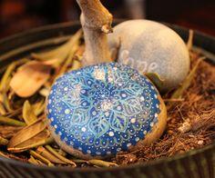 Hand painted stone blue mandala mandala art by EmmysHeartsnCrafts