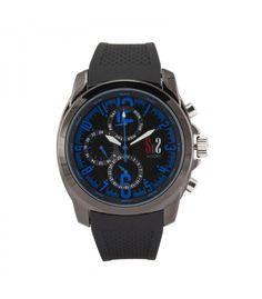 Reloj deportivo caballero acero y caucho con cifras azules - Subastas Regent's | Joyas y Antigüedades