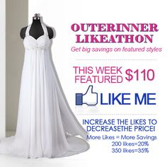 """Get a huge discount on this wedding dress with the OuterInner Facebook """"Likeathon!""""    Go to our facebook page > like this picture > if we hit the target we'll publish a discount code to get up to 35% OFF!  Go here: https://www.facebook.com/OuterInner.Club/app_139229522811253"""