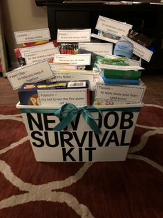 Funny new job survival kitYou can find Going away gifts and more on our website.Funny new job survival kit New Job Survival Kit, Survival Kit Gifts, Survival Kit For Teachers, Teacher Survival, Survival Supplies, Retirement Survival Kit, Survival Gear, Goodbye Gifts For Coworkers, Farewell Gift For Coworker