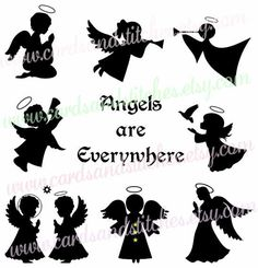 Angel Silhouettes SVG - Angels SVG - Angel Printables -  Digital Cutting File - Graphic Design - Instant Download - Svg, Dxf, Jpg, Eps, Png by cardsandstitches on Etsy