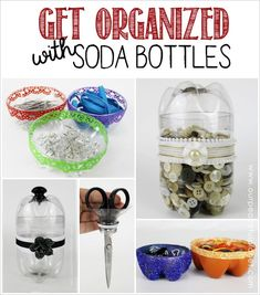 Get organized with plastic bottles! You can cut them, paint them and decorate them to hold all kinds of things. What a great way to upcycle!