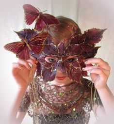 Purple leaf and butterfly enchanted forest mask
