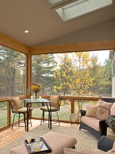 I like the wide window frames... maybe with a heated tile floor. Traditional Screened Porch Design