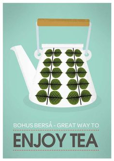 Retro tea poster art for Kitchen. Mid century modern Stig Lindberg-GREAT COLOR for my house/kitchen